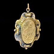 Mid Victorian Memorial Gold Filled Locked Pendant