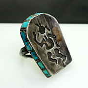 Sterling Silver Native American Style Ring - Size 6.75