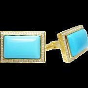Mens Sleeping Beauty Turquoise & Diamond Cuff Links in 14k Yellow Gold Cufflinks