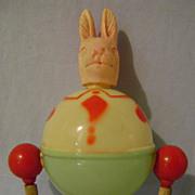 Vintage Celluloid Rabbit Rattle