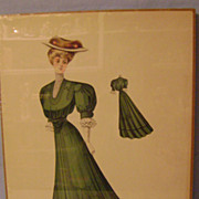Vintage 1905 Picture of Lady in Current Fashion