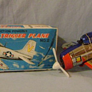 Vintage Tin Trigger Plane /Original Box
