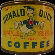 Vintage Donald Duck Coffee Free Sample Tin Bank