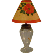 Vintage Glass Lamp with Paper Shade Candy Container
