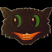 Vintage Cardboard Embossed Halloween Cat Face