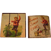 Vintage McLoughlin Bros.Simple Simon Paper Litho and Wood Blocks