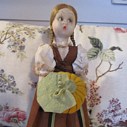 Sweet Lenci Like Doll with Pumpkin - Ready to Adorn your Thanksgiving Table