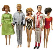 SOLD Group of 5 Early Barbie and Ken Dolls for Your Collection - Red Tag Sale Item