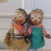 Bisque Head Mecki & Macki Hedgehog Dolls in Original Outfits