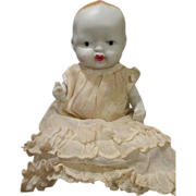 Sweet Vintage All Bisque Baby Doll in Christening Gown