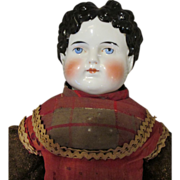 Lovely Antique German China Head Doll in Original Outfit