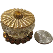Bohemian Glass Crystal Miniature Trinket Jar for your Antique Doll