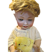 """Adorable 17"""" Antique Bisque Head Baby Doll with Endearing Expression"""