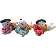 SOLD Three Tiny Japanese Baby Dolls - Composition dolls