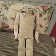 Large Antique Cloth Doll Body with Composition Arms