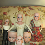 Six Antique German Bisque Head Dolls and Heads - Opportunity Group