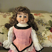 Pretty Antique Heubach Bisque Head Doll on Kid Body