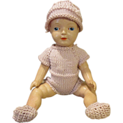 Darling Celluloid Doll in Knit Outfit
