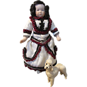 """Adorable 4.5"""" Doll House Child Doll with Little French Poodle"""