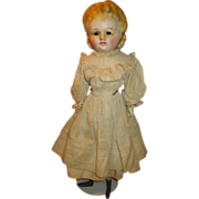 Unusual Early Wax Over Paper Mache Head Doll with Eyes that Open and Close