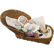 """SOLD Adorable 4"""" All Bisque Baby Doll with Patchwork Quilt and Wicker Crib"""