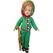 """Sweet 14"""" Composition Doll Dressed as a Skier"""