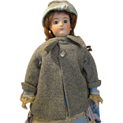 Antique Wool Coat with Matching Bonnet for Your French Fashion Doll