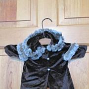 Vintage Velvet Doll Coat with Fur Trim