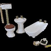 Doll House Bathroom Ensemble - Sink, Tub, Pull-Chain Toilet