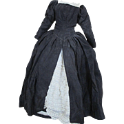 Vintage Black Floor Length Silk Dress for your French Fashion Doll