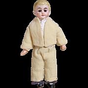 """Adorable 10"""" Bisque Head German School Boy Doll"""