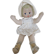 1920's Effanbee Pat-O-Pat Doll - All Cloth - Masked Face - Original Outfit