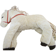 Vintage White Mohair Horse for Your Antique Doll