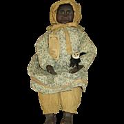 Beautiful Black Folk Art Doll - Lovely Features