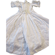 Beautiful Hand Made Antique Doll Dress - White Lawn Dress