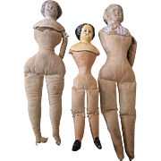 3 Antique Dolls: 2 Paper Mache Head Dolls and a Darrow Rawhide Doll - TLC - 3 ...