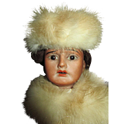 Antique German Bisque Head Scowling Indian Doll