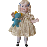 SALE PENDING Antique All Bisque Doll With Original Clothing
