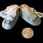 SALE PENDING Pastel Blue Oil Cloth Doll Shoes