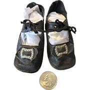 Black Oil Cloth Shoes for Your Larger Doll