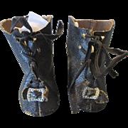 Black Oil Cloth Doll Boots