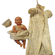 Turtle Mark Celluloid Baby Doll in Christening Gown