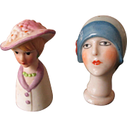 SALE PENDING Two Small Bisque Bonnet Doll Heads