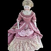 Stunning Antique German Biedermeier Solid Dome China Head Doll