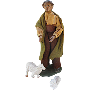 Antique Creche Figure - Shepherd with Lambs