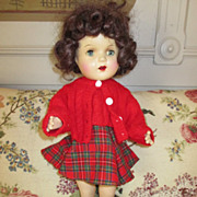 Vintage Composition Doll - Cute Outfit - Mohair Wig