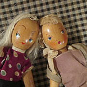 Pair of Polish Wooden Dolls - Lovely Expressions