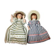"""Set of 2 All Bisque 4"""" Doll House Dolls"""