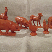 Vintage Red Rubber Farm Animals for your doll house or room box