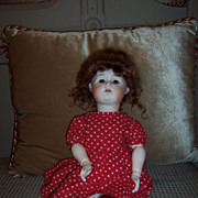 "Darling 17"" Nippon Bisque Head Doll w/Auburn Mohair Wig"